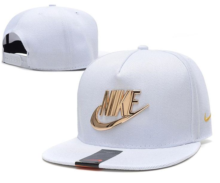 Mens Nike The Classic Nike Iron Gold Metal Logo A-Frame USA 2016 Best Quality Fashion Leisure Snapback Cap - White