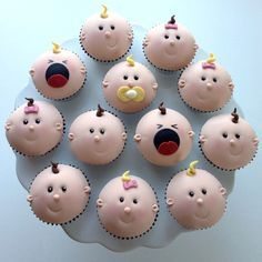"""Baby cupcakes! Pretty fondant! easy rolled curly cues for hair -  some pink """"pearl dust"""" for the blush in the cheeks"""