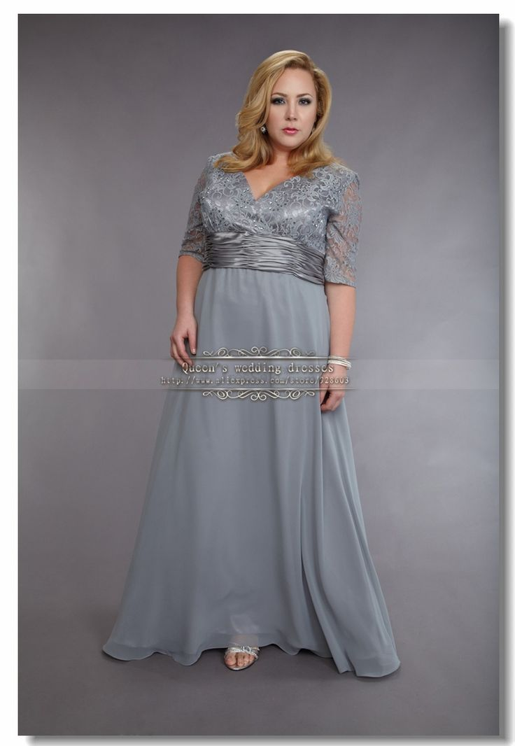 Plus Size Silver Gray Chiffon Mother Of The Bride Dresses