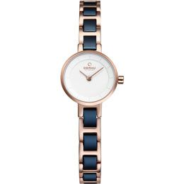 OBAKU Let - cobalt // rose gold and blue stainless steel watch