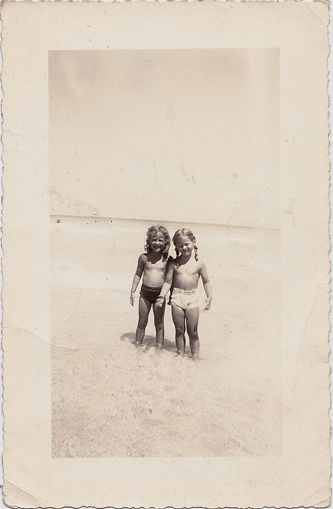 Antique Photograph Two Adorable Little Blonde Girls in Bathing Suits At Beach