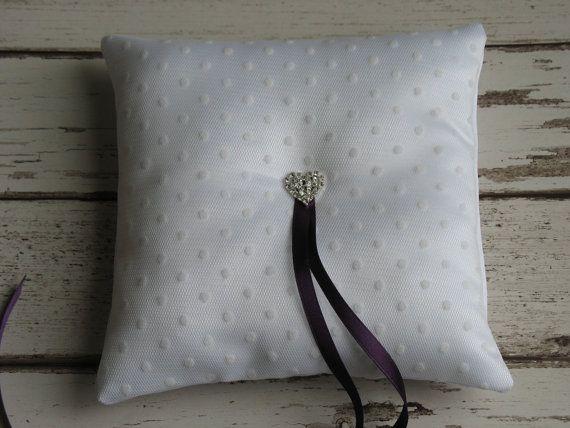 White ring bearer pillow. White ring cushion. Polka dot wedding.