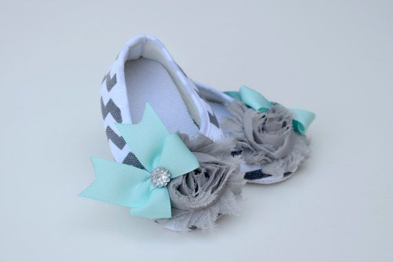 Gray and aqua chevron baby girl shoes - booties - baby  - newborn - infant on Etsy, $16.00