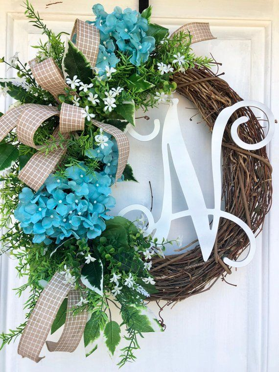 Monogram Wreath Spring And Summer Wreaths Wreath With Letter Hydrangea Wreath Sassy Doo Spring Wreaths For Front Door Diy Spring Door Wreaths Spring Wreath