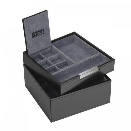 Square box, 2 dielny set / čierny