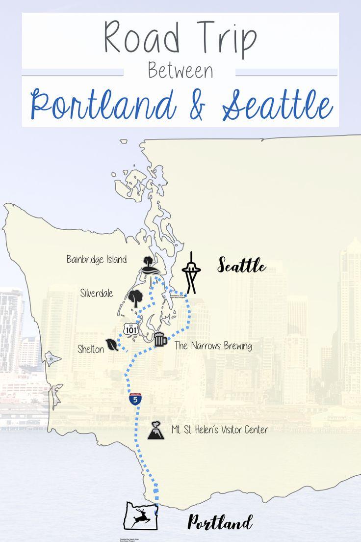 Road Trip Itinerary between Portland and Seattle. A prime road trip between Portland Oregon and Seattle Washington.