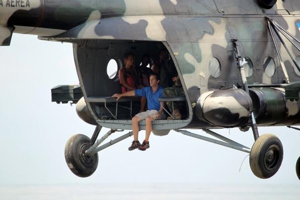 Survivor Photos: Jeff Probst and Survivors Arrive by Helicopter Redemption Island