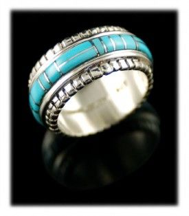 Sleeping Beauty Turquoise - American Ring Band from Durango Silver Company - Durango Colorado USA