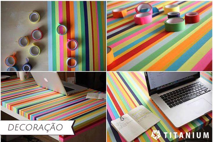 Fitas adesivas coloridas podem transformar uma mesa velha e dar um ar super moderno e descontraído ao ambiente.