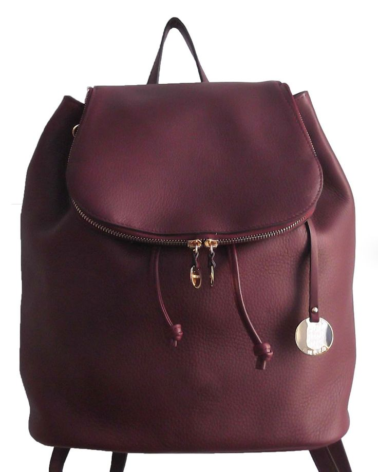 Burgundy Colour PU Women Backpack with Metal Accessory