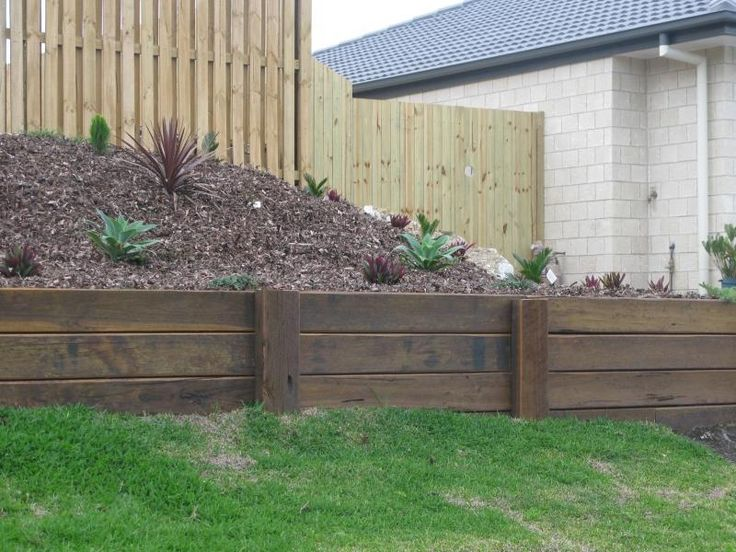 wooden retaining wall ideas - Google Search