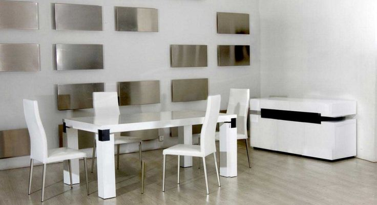 Rectangular-White-dining-table-set-with-white-high-gloss-lacquer