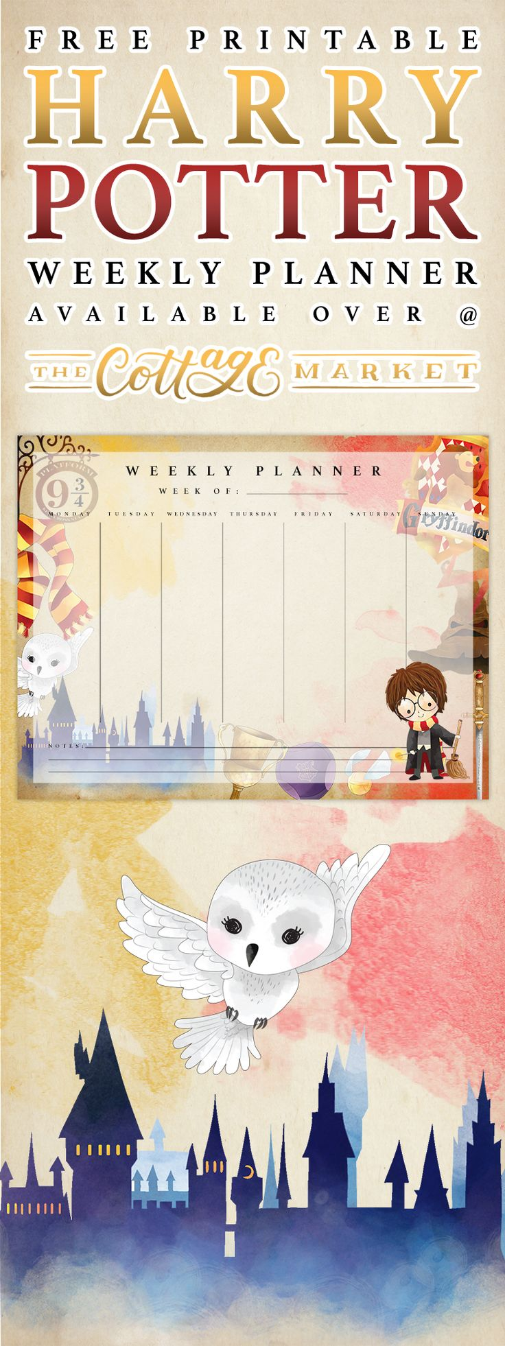 We have a brand new Free Printable Harry Pottery Weekly Planner for you today and I think you will find it magical Perfect for daily notes and Kids Homework
