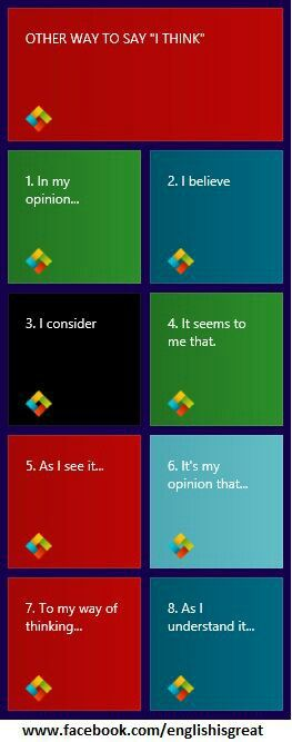 Other ways to say I think. ..        Repinned by Chesapeake College Adult Ed…