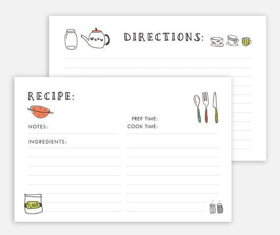 Recipe Card Printable Recipe Card Recipe Card Template Etsy Recipe Cards Template Printable Recipe Cards Recipe Template Printable