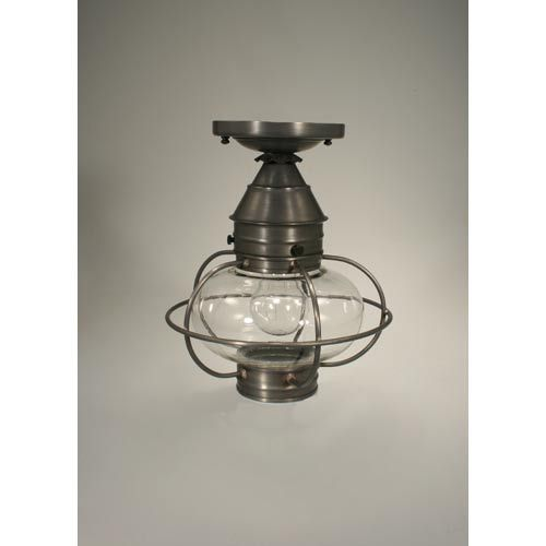 Onion Raw Copper One Light Outdoor Flush Mount With Clear Glass Northeast Lantern Flush Mo
