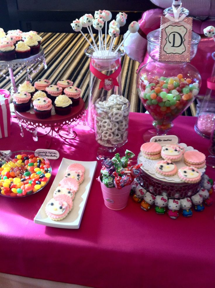 Hello Kitty Candy Bar -cookies , cupcakes ,cake pops and lots of candy
