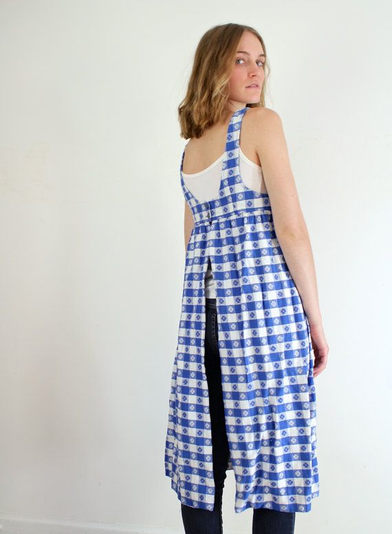 Blue dress one shoulder apron