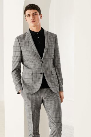 7bb7d4ee53e0 Light Grey Check Slim Fit Suit: Jacket | Grey Checked Suit in 2019 ...