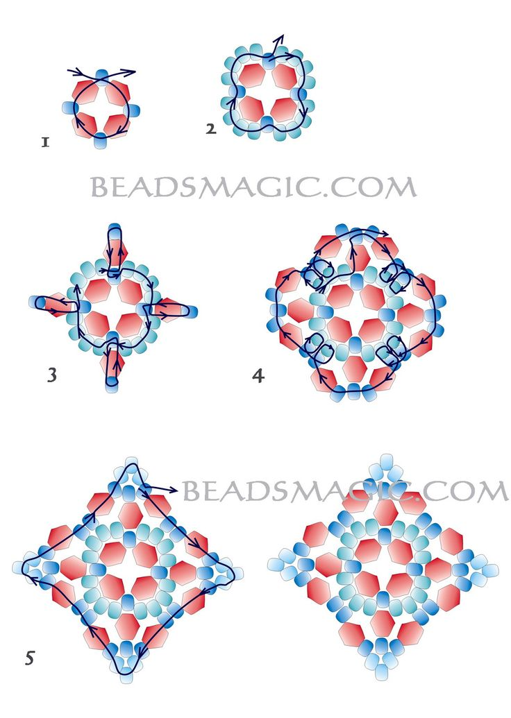 Free pattern for earrings Mia. U need: seed beads 10/0 – 11/0 bicone beads 4 mm faceted drops