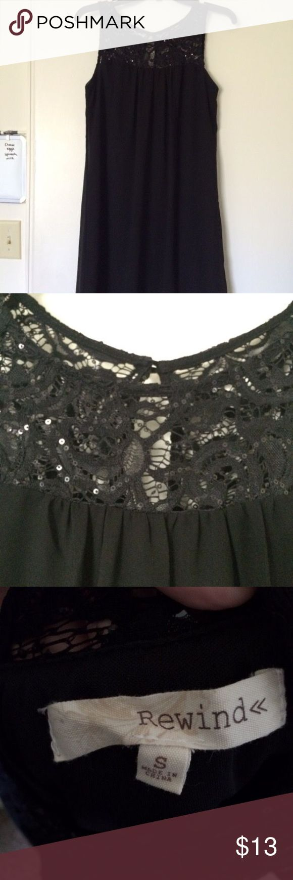 Black shift dress Black shift dress with lace and sequin detail. Bought from Kohl's. Size small. Rewind Dresses