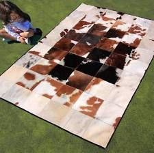 New Cowhide Rug Leather Cow Hide Animal Skin Patchwork Area Carpet Steer J68