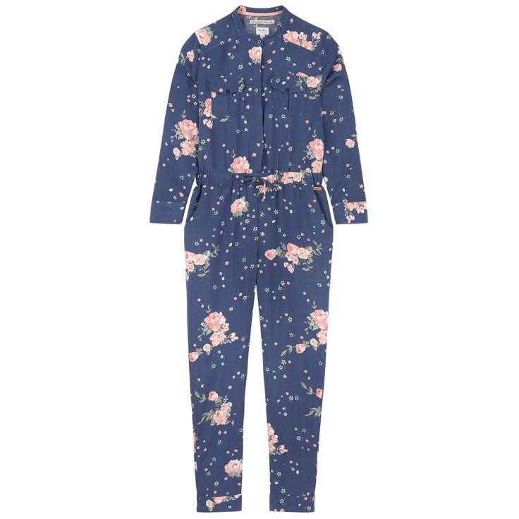 Printed viscose Light and soft item Pleasant to wear Without lining Straight collar Long sleeves Front and back pockets Stitched turn-ups on the ankles Buttons on the cuffs Buttons on the chest Logo buttons Elastic waistband Drawstrings on the waistband Flower print Logo plate - $ 61.60