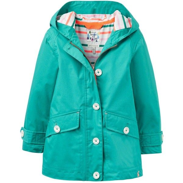 Joules Girls Showerproof Coat (€64) ❤ liked on Polyvore featuring outerwear, coats, leather-sleeve coats, blue coat, button coat, water resistant coat and joules coats