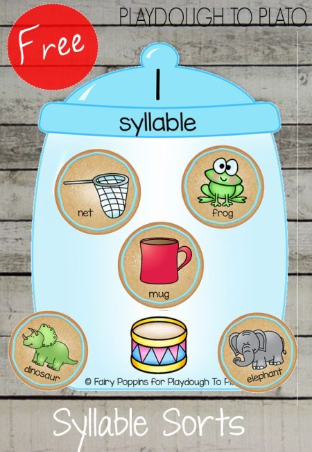 Free Cookie Jar Syllables. Such a fun way to teach kids about breaking words into parts. This is a perfect activity for preschool or early kindergarten.