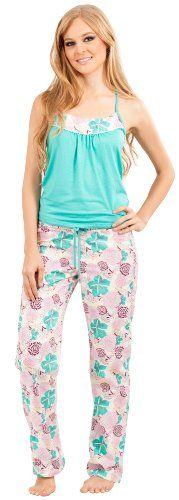 Adriana Arango Women's Pajama Set Trendy Racerback Top Patterned Pants