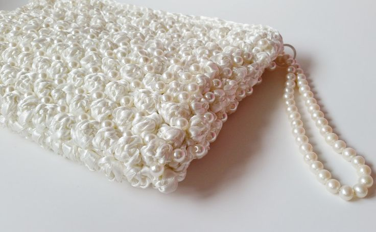 Unique Bridesmaids Gifts Crochet Wedding Clutch from Satin Ribbon and Pearls Satin Clutch Bag  Pearl Clutch Wedding Gift Bridesmaid Clutches by LTLDizaynDIY on Etsy