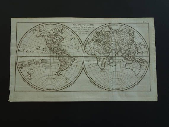 Old WORLD MAP original 200 years old antique double