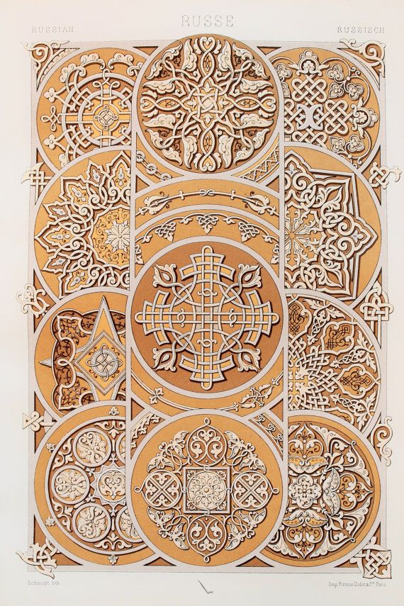 Russian Decorative Ornament (Rosettes, Border Patterns in Brown & Cream, etc) - Chromolithograph Antique Print by Racinet.At Paper Popinjay, we search for unloved antique and vintage books, and bring their beautiful illustrations out into the open! This is an original antique (1880) chromolithograph by Racinet, which has been taken from a disbound Victorian book.