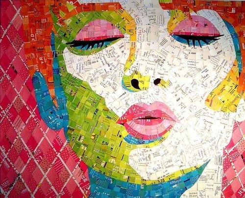 Mosaic: A Kiss, Colors Patterns, Junk Mail, The Artists, Collage, Sandhi Schimmel, Recycled Art, Art Pieces, Schimmel Gold