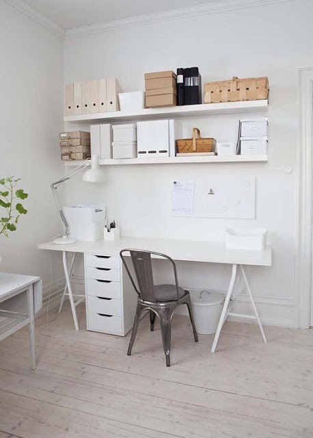 White  Wood Linmon table top with Vika Alex drawer unit under. The floating wall shelves are Lack. The little white trash bin is Knodd.