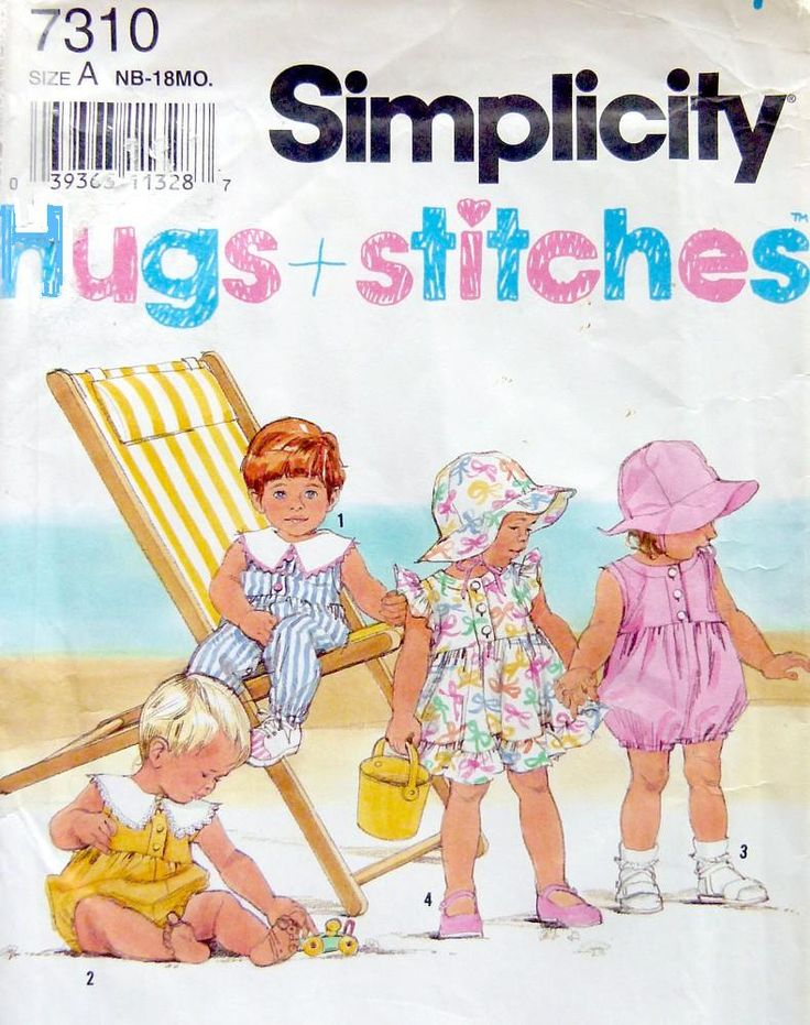 SEWING PATTERN, Simplicity 7310,  Newborn to 18 Mo. Dress, Hat and Rompers in 2 lengths, Easy to sew, Hugs & Stitches, by LaraineRoseHandiWorx on Etsy