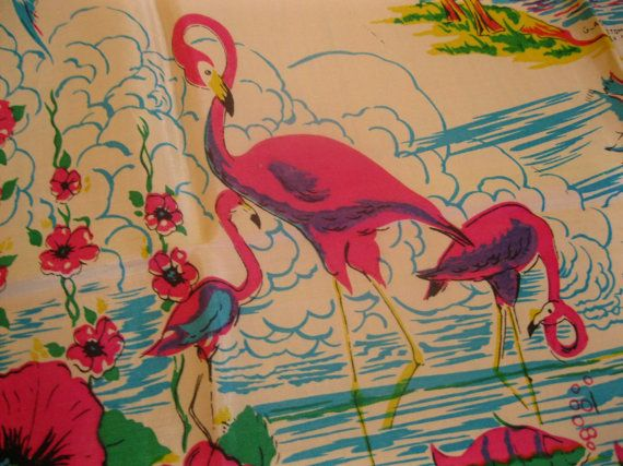 Vintage 1940s Florida souvenir scarf with palm trees bathing beauties and flamingos