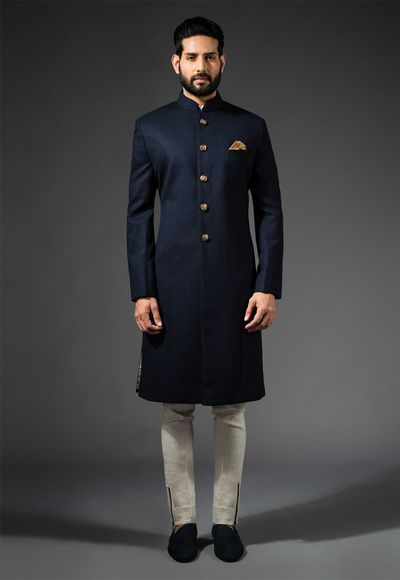 blue and gold sherwani , elegant sherwani , elgant bandhgala , high neck silk sherwani , minimalistic