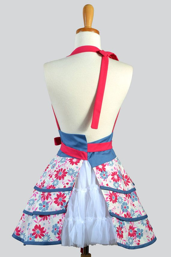 Flirty Chic Apron . Country Girl Denim Blue and von CreativeChics