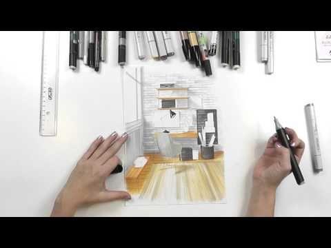 Интерьерный скетчинг: дизайн рабочего пространства. Распечатай построение и рисуй! - YouTube