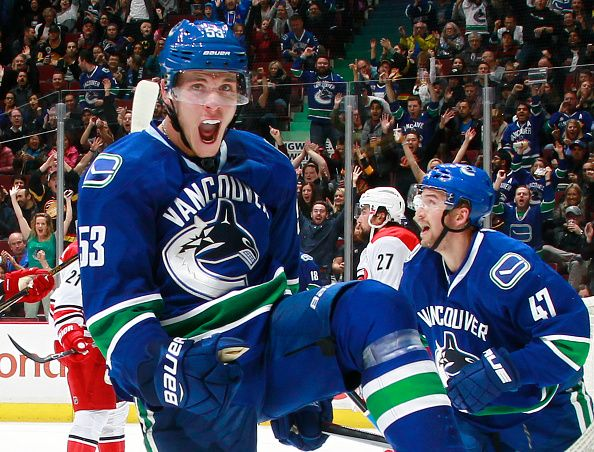 Bo Horvat of the Vancouver Canucks celebrates after scoring against the Carolina Hurricanes during their NHL game at Rogers Arena October 16 2016 in...