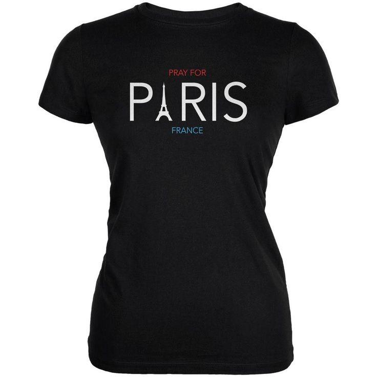 Pray for Paris Eiffel Tower Black Juniors Soft T-Shirt