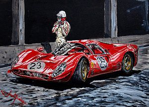 Ferrari 330 P4 Painting - Bandini And The P4 by Juan Mendez