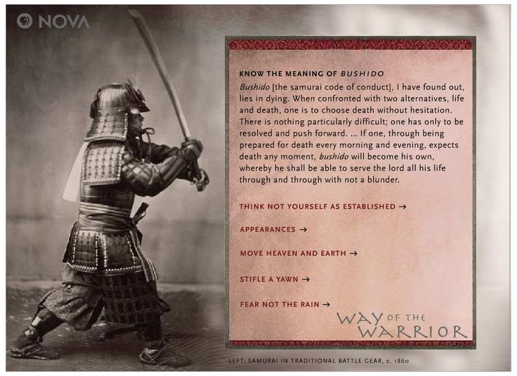 the history of the samurai and the bushido code The bushido code of honor, a japanese list of life rules, has left a lasting impression on the history and culture of japan these rules were created and changed over time by many different.