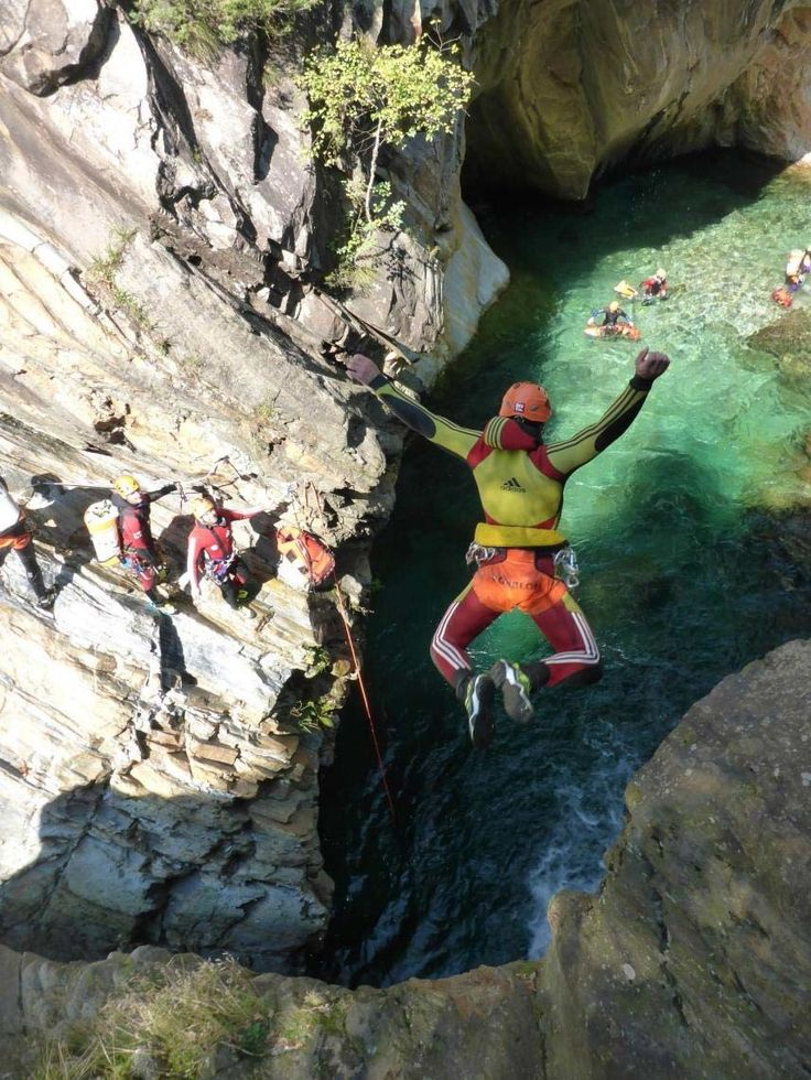 Nice jump into an emerald pool in the French Alps #canyoning Photo: Happy Tracks