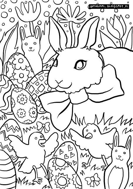 OPTIMIMMI | A free coloring page of the Easter Bunny, eggs, flowers and birdies! / Ilmainen värityskuva pääsiäispupusta, munista, kukista ja lintusista!