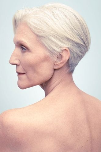 Maye Musk. Short hair.