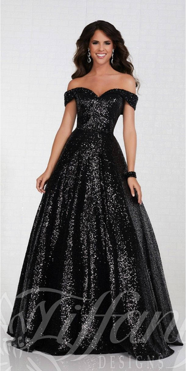 44e9c8070f47 Sequin Off the Shoulder Tiffany Ball Gown - Tiffany Designs - 16303 -   398.00