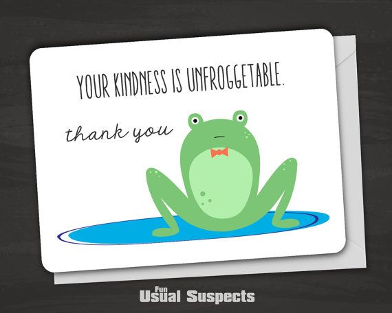 Thank You Card Pun Card Funny Frog Card by FunUsualSuspects