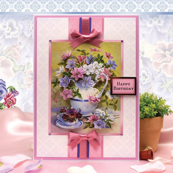 Card made using Heartsease & Hellebore Designer Decoupage Set from Spring is in the Air by Hunkydory Crafts http://www.hunkydorycrafts.co.uk/acatalog/Heartsease-Hellebore-Designer-Decoupage-Set-SPRING901.html#SID=374